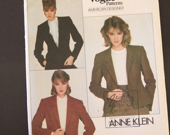 Vintage Vogue American Designer Sewing Pattern 2785, Anne Klein,  Misses' jacket, size 14, Uncut, Factory folded