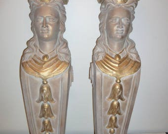 Large European heavy pair of Victorian style figural architectural brackets with neoclassical woman 1950s