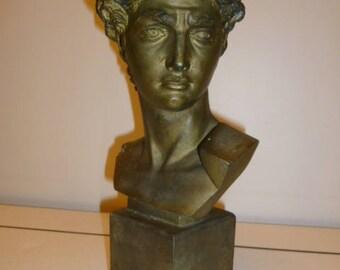 Antique Neoclassical bronze patina plaster bust Greco-Roman man circa 1900s
