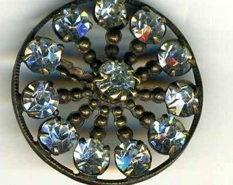 Vintage Rhinestone Button, Set in Brass Wheel