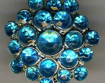 Vintage Rhinestone Button, Turquoise, Med.