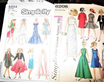 "2 vintage Simplicity  Pattern 11 1/2"" Barbie Doll Clothes Evening Dress Coat"