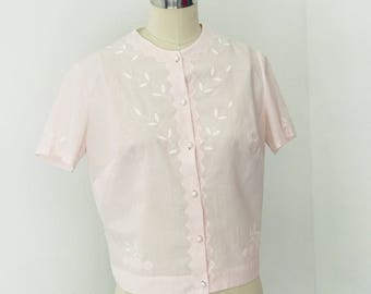 Vintage 50's Cropped Embroidered Blouse l L
