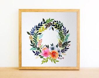 Flower Wreath in Watercolor 6x6