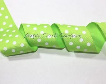 "1-1/2"" White Polka Dots on Apple Green Grosgrain Ribbon 1-1/2"" x 1 yard"