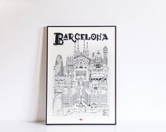Illustration of Barcelona - series * Travel With Me *. Black and white. 21 x 29.7 cm