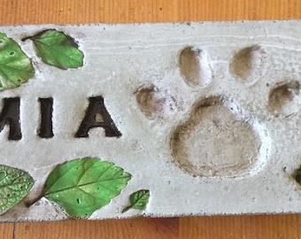 10 1/2 x 4 1/2 concrete pet garden stone/ pet memorial /pet marker