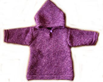 Purple tunic sweater hooded 2/4 years