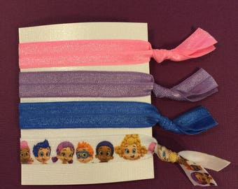 Elastic Hair Ties, Set of Four: Bubble Guppies