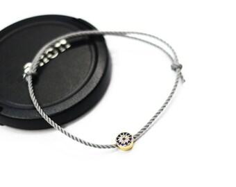 Gray string bracelet new CZ pave evil eye dot bracelet Kabbalah adjustable bracelet boho chic layering bracelet Nazar jewelry christmas gift