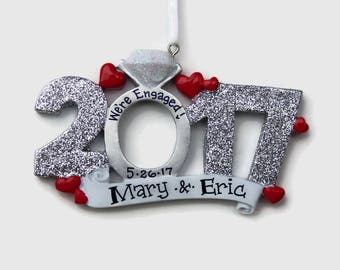 20% OFF SALE - Engaged in 2017 Personalized Ornament - We're Engaged! - Will You Marry Me? - Engagement Ring Christmas Ornament