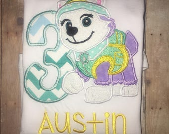 Girls Paw Patrol Everest Shirt Number Name Personalized Pup Puppy Boutique Birthday Party Embroidered Applique Shirt! Snow Winter Dog
