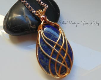 Lapis Lazuli Wire Wrapped Rose Gold Necklace ~ Gemstone Crystal Healing ~ Hand Crafted Ooak