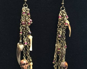 Earrings ~ Brass Chain Skulls, Bones and Claws
