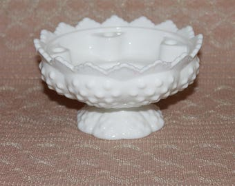 Fenton Vintage Milk Glass Hobnail Candleholder Bowl Wedding decor