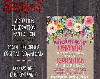 Floral Adoption Celebration Invitation