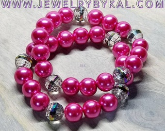 Hot Pink (Fuchsia) Adjustable Stack Bracelets