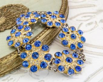 Blue Rhinestone Bracelet - Rockabilly Jewelry - Vintage Sapphire Flower Bracelet - Vintage Wedding Jewelry - One Of A Kind Gift For Her