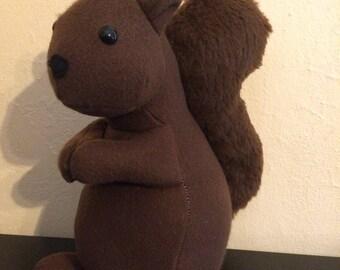 Brown stuffed squirrel,faux fur, squirrel toy