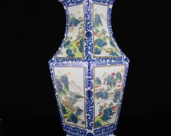 N3784 Chinese Famille Rose & Blue And White Porcelain Vase