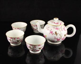 N3872 China Gilt Edges Famille Rose Porcelain Teapot & Cups
