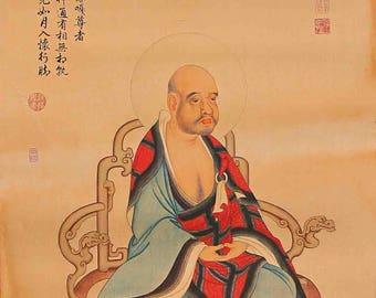 N4601 Hand Painted Tibetan Buddhism Kraft Thangka