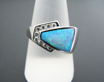 a354 Vintage Stunning Lab Created Opal Ring Band with Diamonds 14k White Gold