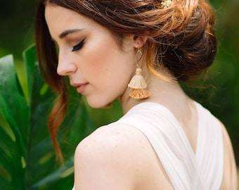 Gold Bridal Earrings, Tassel Earrings, Gold Ivory Wedding Jewelry, Bridal Jewelry, Bridal Shower Gift, Boho bride, boho chic, gold wedding