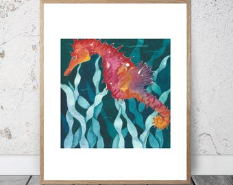 Ocean Study Red Orange Seahorse