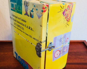 African Recycled Tin Storage Container, International Tin Box,  Rustic Metal Box