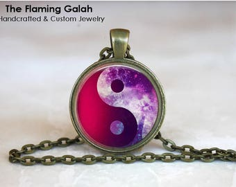 YIN & YANG Pendant • Purple • Night Sky • Free Spirit • BoHo Yin Yang • Yoga • Meditation • Gift Under 20 • Made in Australia (P1557)