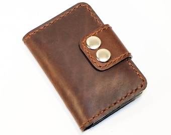 Credit card holder, Card holder, business card holder, leather card wallet, brown business card case. crazy horse leather wallet.Great Gift!
