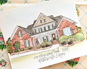 Custom Home House Watercolor, hand painted 8x10, made to irder