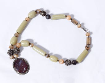 Boho necklace with semi precious stones