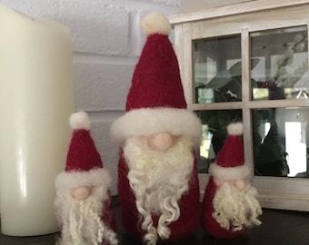 Set of Needle felted Santa decorations