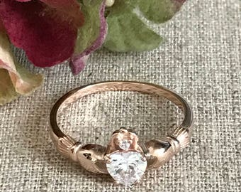 Rose Gold Plated Sterling Silver Traditional Irish Claddagh Ring, Birthstone Engagement Ring, Personalized Promise Ring for Her
