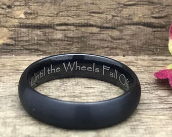 6mm Personalized Cobalt Wedding Band, Custom Engraved Promise Ring, Black Wedding Ring for Him and Her, Couples Ring, Purity Ring