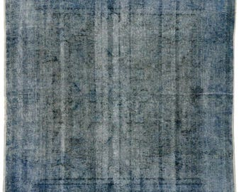 Distressed and Blue Overdyed Persian Rug, Modern Blue Square Rug, 6'2 x 6'2