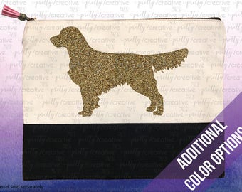 Golden Retriever Dog Two Tone Makeup/Travel Cosmetic Bag with Black Canvas Trim -  Black, Silver or Gold Glitter
