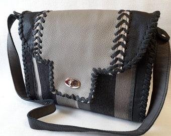 shoulder bag,fancy bag,saddle bag,leather and stuff,black gray silver, striped,elegant,extravagant,hand made bag,Unique,medium size bag,