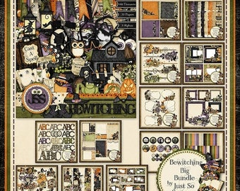 On Sale 50% Bewitching Halloween Digital Scrapbooking Kit Collection