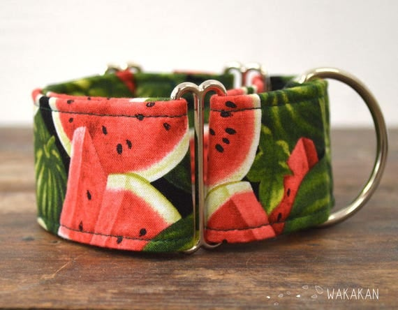 Martingale dog collar model Summer Fruit. Adjustable and handmade with 100% cotton fabric. watermelon fabric, summer time Wakakan