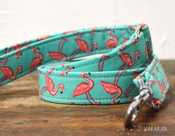 Leash for dog Florida. Handmade with 100% cotton fabric and webbing. Flamingos. Wakakan