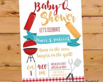 BBQ invitation baby, Co Ed baby shower invitation, co ed baby shower invite, BabyQ Shower, BBQ Invite, BBQ Invitation, I Do bbq, BabyQ Party