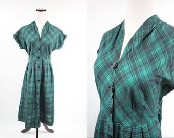 1950's Pine Green Plaid Cotton Short-sleeve Dress