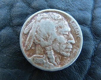 1918 US circulated authentic vintage   Buffalo Indian Nickel coin full date A121