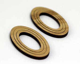 6 Concentric Oval Wood Beads : Bamboo