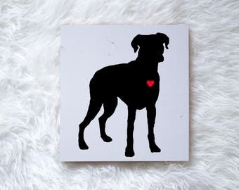 Hand Painted Boxer Silhouette on Painted Grey Wood, Dog Decor, Dog Painting, Gift for Dog People, New Puppy Gift, Housewarming Gift