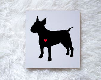 Hand Painted Bull Terrier Silhouette on Painted Grey Wood, Dog Decor Dog Painting, Gift for Dog People, New Puppy Gift, Housewarming Gift