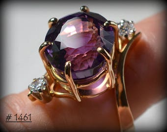 Beautiful, Handcrafted, One-of-a-Kind - Oval Amethyst, Diamond, and Yellow Gold Ring -  New - Handmade by Werner Theobald, Goldsmith